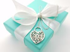 Tiffany & Co Sterling Silver Filigree Heart Key Hole Pendant 18' Chain Pouch Box