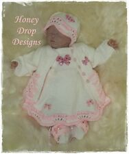"Honeydropdesigns * Mini Raspberry Ripple * PAPER KNITTING PATTERN * 17"" Reborn"