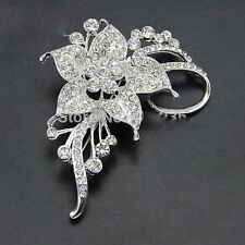 Alloy Silver Plated Rhinestone Flower Wedding Gift Brooch Pin