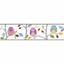 BRIGHT OWLS SELF-ADHESIVE WALLPAPER BORDERS (8955-23) A.S. CREATION NEW