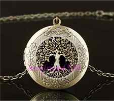 Vintage Metal Tree of Life Cabochon Glass Brass Locket Pendant Necklace