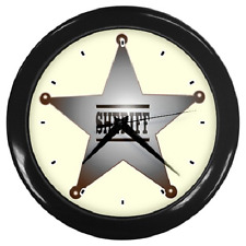 SHERIFF STAR BADGE WESTERN OLD WEST COWBOYS ROUND WALL CLOCK **SUPERB ITEM**