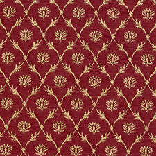 B643 Red, Floral Trellis Woven Jacquard Upholstery Fabric By The Yard