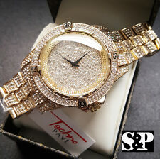 Mens Hip Hop Gold PT JAY-Z Iced Out Techno Pave Bling Rapper's Metal Band Watch