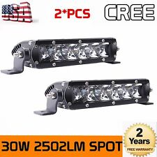 Cree 2X 7inch 30W LED Slim Single Row Light Bar Spot Lamp Truck UTV 4WD SUV Lamp