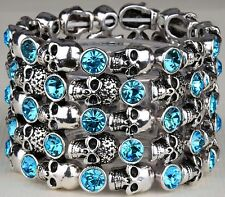 Skull Skeleton Stretch cuff Bracelet Crystal Punk Biker Halloween Blue BD01