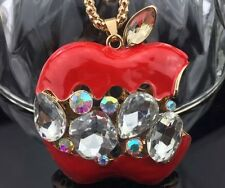 Cute NWT Betsey Johnson Necklace Red Teacher Apple ��Crystals Bling