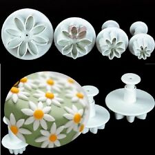 4x Daisy Flower Sunflower Cake Tools Cookie Cutter Plunger Fondant Brand New
