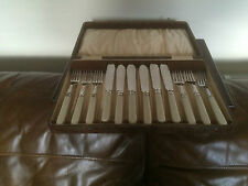 LOVELY BROWN FAUX CASED SET OF 12 SILVER PLATED FISH KNIVES & FORKS  (FK3333)
