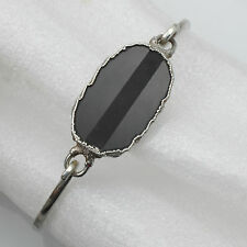 Solid Sterling 925 Silver Onyx Agate Type Stone Bangle Bracelet Hallmarked 1981