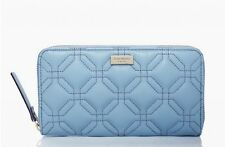 NWT Kate Spade Astor Court Neda Quilted Leather Zip Around Wallet Soft Blue NEW