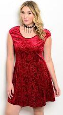 D72~NEW RED VELVET SCOOP NECK SPARKLING ACCENTS Dress Plus Size XL 1X 10 12