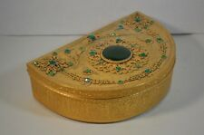 Vintage Empire Art Gold and Emerald Jeweled Demi Lune Box