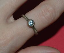 VITAGE STERLING SILVER AQUAMARNE AND 0.1 CT TW ROSE CUT DIAMONDS RING SIZE 7