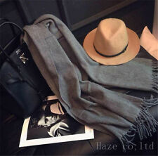 Unisex Long Cashmere Winter Wool Warm Scarf Wrap Shawl Big Scarf Dark gray FRR