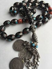 Natural Black Coral, Natural Red Coral, Sterling Silver,Turquoise 33Prayer Beads