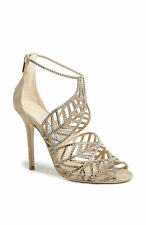 Jimmy Choo KALLAI Leaf Detailed Cage Nude Mix Suede / Hotfix Crystal Sandals 40
