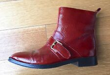 Kenzo Red Patent Leather Buckle Ankle Boots SZ 38 US 8