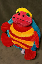 "B J TOY YELLOW BLUE RED ORANGE TURTLE 11"" PLUSH STUFFED ANIMAL LOVEY TOY"