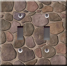 Double Light Switch Plate Cover - Stone Faux Finish 1