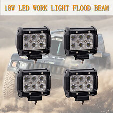 4x 18W 4 inch Cree LED Work Light Bar Flood Beam Off road 4WD Jeep Driving Lamp