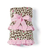Mud Pie Leopard Baby Girl Pink & Brown Floral Leopard Receiving Blanket 2102147