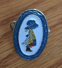 Vintage Holly Hobbie Silver Tone Metal And Enamel Adjustable Ring