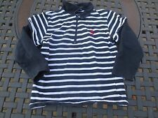 Les petits coeurs a lamer ~ Girls or Boys Blue White Striped Shirt ~ Size 6