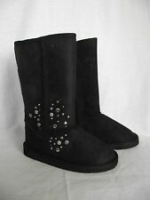 BNWT Little Girls Sz 11 Cherrylane Long Black Silver Stud Detail Slipper Boots