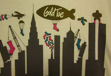 GOLD TOE SOCKS city skyline XL tee blimp logo T shirt NYC foot fetish