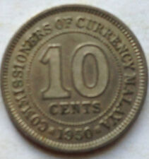 Commissioners of Currency Malaya 10 cents 1950 coin (B)