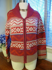 Vintage Laura Ashley Lambwool Red Multi Color Full Zipper Sweater Cardigan S