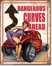 DANGEROUS CURVES AHEAD/ HOT ROD/PIN-UP ;ANTIQUE-STYLE METAL SIGN 40X30CM, USA
