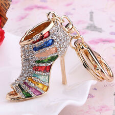 Fashion High Heel Shoes Keychains Rhinestone Shoe Keyring Handbag Bag Key Holder