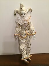 """Porcelain Doll Jester Clown Figurine Bells No Stand 11"""" Tall Made in China"""