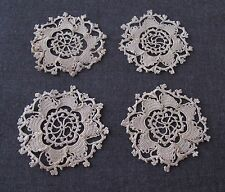 4 ANTIQUE CROCHETED BEIGE LACE FLOWERS APPLIQUES EMBELLISHMENTS