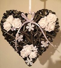 Shabby Chic Wicker Heart Floral Country Farmhouse White Silver Diamante Brooches