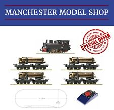 Roco 31030 HOe 009 1:87 BR99 locomotive & timber train STARTER SET & EXTRAS NEW
