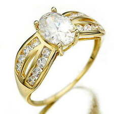 Solitair White Sapphire Yellow Gold Filled Ladies Womans Engagement Ring SZ7