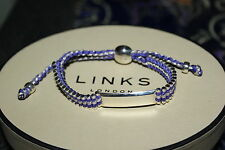 GENUINE LINKS OF LONDON SILVER 32 BAR PURPLE AND GREY ID FRIENDSHIP BRACELET