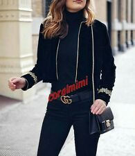 ZARA  SHORT VELVET BLAZER COAT WITH GOLD APPLIQUE SLEEVES SIZE M