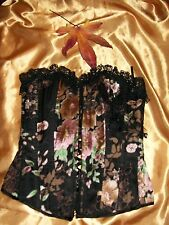Todays Woman multi floral boned silk mix basque with bead & lace trim 10 BNWD