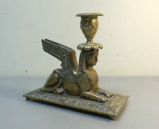 STUNNING ANTIQUE BRASS/BRONZE EGYPTIAN REVIVAL WINGED SPHINX CANDLE HOLDER