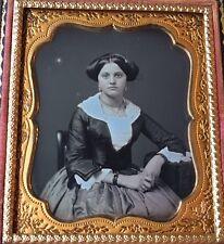 GORGEOUS YOUNG WOMAN ID'd MARTHA DODGE PRETTY 1/6 CASE DAGUERREOTYPE PHOTO D259