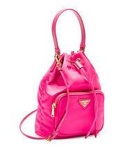 NEW Auth PRADA Tessuto Mini Bucket Crossbody Shoulder Bag, Purse Pink (Fuchsia)