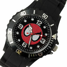 DC SPIDERMAN SUPERHERO Stainless Steel BLACK SILICONE FILM ROUND COMICS WATCH