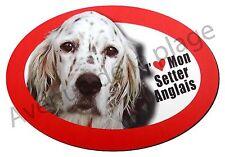 """Magnet chien """"J'aime mon Setter Anglais"""" pour frigo/voiture idée cadeau NEUF"""