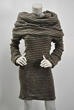 $913 NWT Mark & Estel Large Neck Scarf Sweater Dress Brown Striped Knit Sz 2