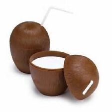 2 COCONUT CUPS 16oz Wood Style Luau Party Brown Plastic Free Shipping