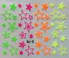 Nail Art 3D Decal Stickers Neon Stars QJ5
